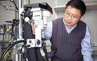 Lin Chen, professor of biological sciences and chemistry, aligns a protein crystal on an X-ray diffractometer. He uses X-ray crystallography to analyze the molecular details of key proteins and their complexes in physiological and disease processes. Photo credit Max S. Gerber.