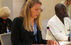 Maile Miller speaks before the United Nations Human Rights Council in Geneva, Switzerland.