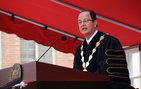 President C. L. Max Nikias speaks about the future of USC at his inauguration ceremony on Friday, Oct. 15. Photo credit Laurie Moore.