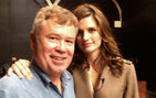 USC College's Jim Haw with ABC <em>Castle</em> television actress Stana Katic during filming of The Alternative Travel Project.
