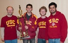 From left: Jack Peters, Danyul Lawrence, Blake Phillips and Sriram Balasubramanian celebrate their first place win at the U.S. Amateur Team Championship West chess tournament. Team member Nathan Huessenstamm not pictured. Photo credit Chris Roberts.