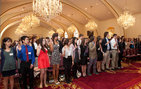 USC juniors and seniors recite the oath that inducts them into the prestigious Phi Beta Kappa Society Epsilon Chapter of California at USC. The academic society welcomed 189 inductees, many of whom are students in USC Dornsife, on April 8 during an initiation ceremony at Town and Gown. Photo by Brian Morri.