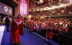 The Dalai Lama speaks at USC for the first time to a sold-out audience at Bovard Auditorium. Photo by Steve Cohn.