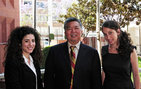 From left, Class of 2011 Master of Liberal Studies graduates Shelly Hacco, Alan Kita, and Tiffany Miller prepare for their presentations at the Fifth Annual Graduate Liberal Studies Symposium at Simon Fraser University. Photo credit Jie Gu.