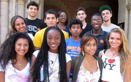 Twelve Posse scholars from New York City are navigating USC as a group. Half are pursuing majors in USC Dornsife. Photo courtesy of George Sanchez, Posse students' mentor, professor of American studies and ethnicity, and history, and vice dean for diversity in USC Dornsife.