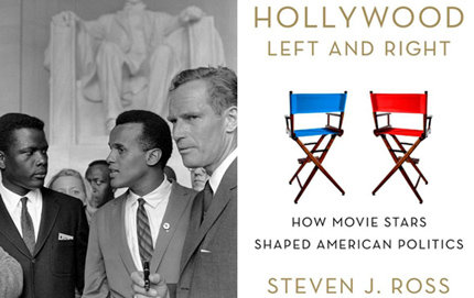 Sidney Poitier (left), Harry Belafonte, and Charlton Heston lead the Hollywood contingent in the March on Washington to promote civil rights and economic equality for African Americans, in August 1963. The march took place before Heston became a Republican activist beginning in the '70s. Belafonte and Heston are featured in Steven Ross' new book, <em>Hollywood Left and Right</em>. Source: National Archives