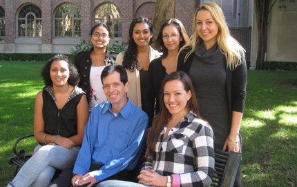 USC students traveling to India, standing, from left, are Aparajitha Vadlamannati, Maya Babla, Jessica Castillo and Hend Alhinnawi. Seated, from left, Mona El Hamdani, Jerry Edling and Anna Dawson.
