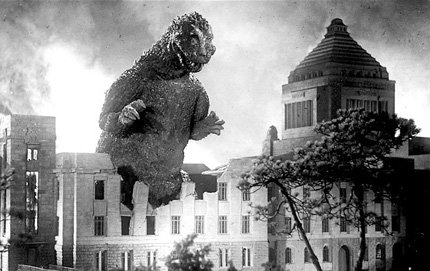 "In the Fall special topics course ""The Fantastic in Modern East Asian Literature and Film,"" USC undergraduates and graduate students learned the film <em>Godzilla</em>, created by Japanese film director Ishirō Honda in 1954, represents the United States and Japan's fears about the nuclear attacks on Hiroshima and Nagasaki. Image credit: 1954 © Toho Co., Ltd."