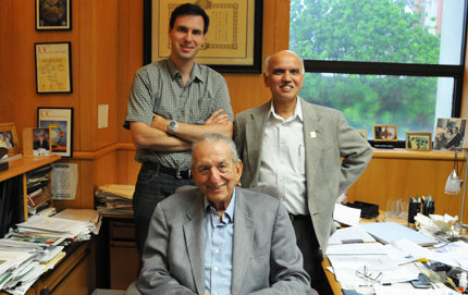 From left, corresponding authors Alain Goeppert, George Olah and G. K. Surya Prakash collaborated on the project with other USC researchers. Photo by Pamela J. Johnson.