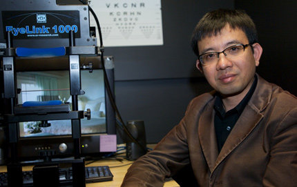 USC Dornsife's Bosco S. Tjan (above) and USC graduate student Anirvan S. Nandy theorized in a new paper that peripheral vision is hindered by the visual experience formed in the brain during eye movements. Photo by Dietmar Quistorf.