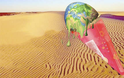 USC Dornsife's Emily Gee and Lisa Cui examined how Chinese and American students responded to both negative and positive advertisements, including this Chinese ad depicting an ice cream earth melting in a desert.