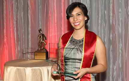 USC Dornsife alumna Erica Silva, who graduated with a B.A. in political science in December 2011, has been recognized by the USC Latino Alumni Association with the 2012 John R. Hubbard Award for her work to improve opportunities for Latino students.