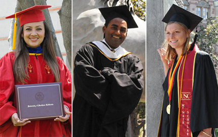 From left, Emir Estrada, Krishna Narayanamurti and Mariah Gill have earned degrees from USC Dornsife and are each heading to successful and exciting destinations. Photos by Pamela J. Johnson.