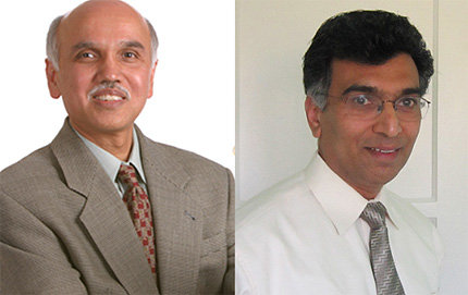 G. K. Surya Prakash and Sri Narayan recently were recognized for their contributions to the field of chemistry. Parkash photo by Phillip Channing.
