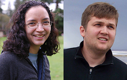 Rosina Lozano, who earned a Ph.D. in history in 2011 and Vlad Vicol, who received a Ph.D. in mathematics in 2010, both in USC Dornsife, were hired onto the faculty at Princeton University. Lozano photo by Nick Vossbrink. Vicol photo courtesy of Vlad Vicol.