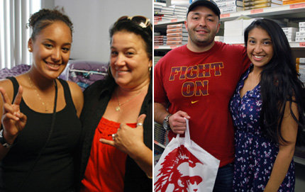 USC Dornsife freshman Azmera Hammouri-Davis flashes a Trojan sign while her mother, Tamara Hammouri Mie, gives the pinky and thumb salute -- the symbol of aloha and hang loose in Hawaii. Inside the USC Pertusati Bookstore, USC Dornsife incoming transfer student Baron Barrera buys textbooks with his wife, Cayla Barrera. Photos by Ben Pack.