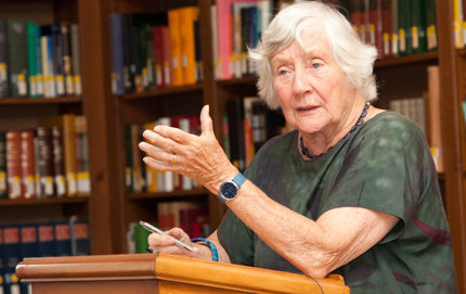 "Baroness Shirley Williams of Crosby, who spoke at USC, was one of the ""Gang of Four"" who in 1981 founded the United Kingdom's Social Democratic Party. She was recently honored as the Emory Bogardus Distinguished Lecturer in the Social Sciences in USC Dornsife. Photo by Mikel Healey."