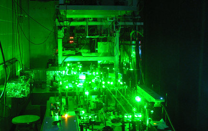 Susumu Takahashi, assistant professor of chemistry in USC Dornsife, was lead author of the recent <em>Nature</em> paper describing how he and his multiuniversity team developed the world's first free-electron laser-powered EPR spectrometer. The laser (shown here) is based at the University of California, Santa Barbara. Photo by Susumu Takahashi.