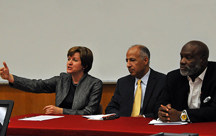 "USC Dornsife's Laurie Brand (left to right), Fayez Hammad and Sherman Jackson were panelists during the recent discussion, ""Outrage in the Middle East: The Video Incident."" Photo by Pamela J. Johnson."