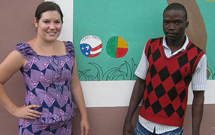 Brittany Berns (left) and her colleague Sabi Yoto, a fellow teacher at Toucountouna's secondary school. Berns taught English and helped to expand a school as a Peace Corps volunteer in Toucountouna from 2010 to 2012. Photo courtesy of Brittany Berns.
