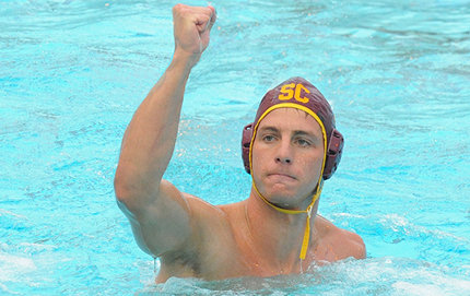 USC Dornsife senior Michael Rosenthal at the 2012 NCAA men's water polo championship tournament at McDonald's Swim Stadium Dec. 2. He was named tournament MVP following the white-knuckle 11-10 victory against the UCLA Bruins. Photo by Dan Avila/USC Sports Information.