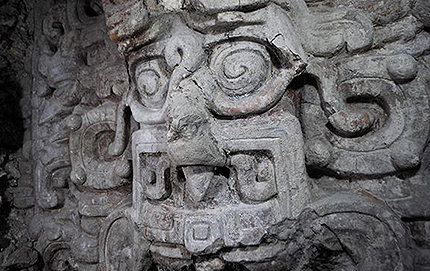 Image of the Maya sun god as shark man, one of his several guises found on the frieze of the Temple of the Night Sun at El Zotz, Guatemala. Photo by Edwin Román, reproduced courtesy of Proyecto Arqueologico El Zotz.