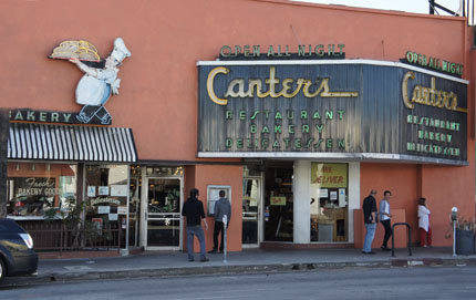 Jewish businesses like Canter's Delicatessen line Fairfax Boulevard in Los Angeles. A population survey of the Jewish community in Southern California had not been conducted for 17 years, so USC Dornsife's Bruce Phillips led an effort to study the community. Photo by Alicia Di Rado.