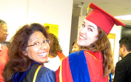 Barraclough (right) and Professor of American Studies and Ethnicity Laura Pulido at the ASE Ph.D. program's hooding ceremony in May 2006. Photo courtesy of Laura Barraclough.