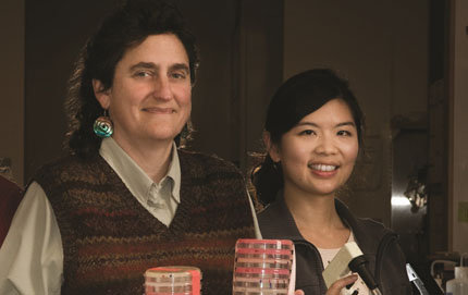 "Susan Forsburg, professor of molecular biology in USC Dornsife (left), led a team in a study recently published in <em>Cell Reports</em>, that shed light on the centromere — the center of the ""X"" shape of a chromosome. Forsburg's former Ph.D. student, Pao-Chen Li (right), now a postdoctoral researcher at the University of California, San Francisco, was among the co-authors. Photo by Eric O'Connell."