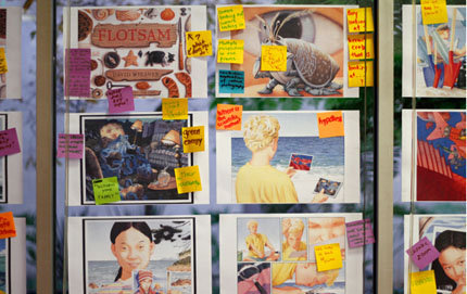 "Ph.D. candidate in marine environmental biology in USC Dornsife Johanna Holm is collaborating on a digital application based on the children's picture book <em>Flotsam</em>. Here, the team has posted images and notes detailing how the ""dynamic book"" will evolve. Photo courtesy of the USC Annenberg Innovation Lab."
