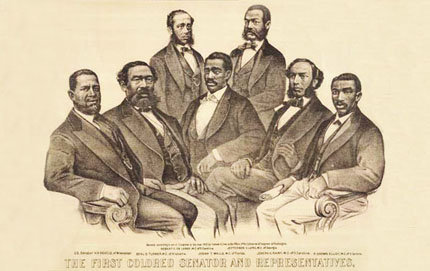 An 1872 illustration depicts the seven African Americans who held seats in the 41st and 42nd United States Congress, a mere seven years after the abolition of slavery. The illustration is part of an African American history exhibit at Walt Disney's EPCOT, scripted by USC Dornsife lecturer and alumnus Anthony Sparks. Courtesy of the Kinsey Collection.