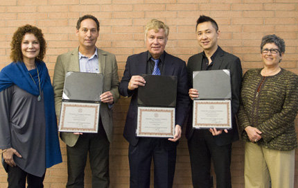 Flanked by Susan Metros (left), associate chief information officer of Technology-Enhanced Learning and associate vice provost, and Vice Provost Beth Meyerowitz, USC Dornsife faculty members David Ginsburg, James Haw and Viet Nguyen display their citations. Photo by Ian Hunter.