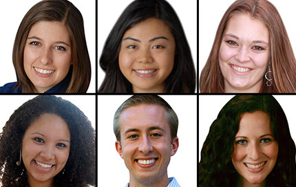 The six graduating USC Dornsife seniors were selected based on their multidisciplinary and outstanding academic achievements. Clockwise, starting from the top left: Marina Tolchinsky, Michelle Banh, Rebecca Braun, Rebecca Wertman, Travis Glynn and Scarlett Royston. Tolchinsky photo courtesy of Tolchinsky; Banh photo courtesy Banh; Braun photo by Mary Braun; Wertman photo courtesy Wertman; Glynn and Royston photos by Pamela J. Johnson.