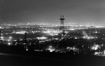 A modern, electric city is born: a 1958 image of Los Angeles at night. Photo by Joseph Fadler, courtesy Huntington Library, San Marino.