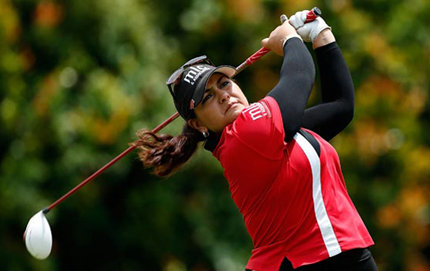USC Dornsife alumna Lizette Salas watches her tee shot on the 16th hole during the first round of the HSBC Women's Champions at the Sentosa Golf Club on February 28, 2013 in Singapore, Southeast Asia. Photo by Scott Halleran/Getty Images.
