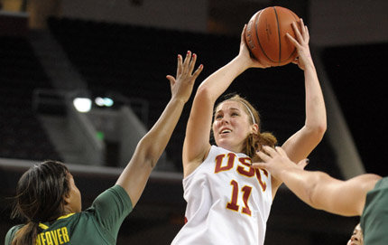 Trojan forward and USC Dornsife undergraduate Cassie Harberts. Photo courtesy of the USC Athletic Department.