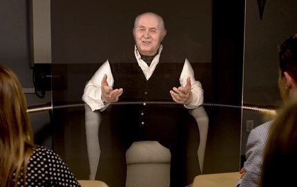 A holograph of Holocaust survivor Pinchas Gutter answers questions from USC students. Photo courtesy of the USC Viterbi School of Engineering.