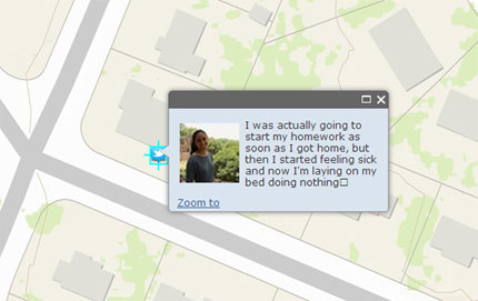 About 30 million Twitter users share data about their location. They choose whether to release their city and state, their address or their precise latitude and longitude. Their tweet text may also reveal a user's location as illustrated here, in which a young woman says she is at home. Image courtesy of Chris Weidemann.