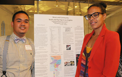 HSBC fellow Melvin Earl Villaver Jr., a junior majoring in sociology, was accompanied to the event by one of his faculty mentors, Shana Redmond, assistant professor of American studies and ethnicity. Villaver researched the history of Filipino hip-hop. Photos by Pamela J. Johnson.