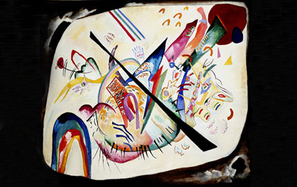 In <em>The Russian Avant-garde, Siberia and the East</em> exhibition, abstract imagery from Russian Avant-garde artist Wassily Kandinsky's 1919 oil painting <em>White Oval</em> was inspired by shamanistic artifacts from Siberia. Image courtesy of the State Tretyakov Gallery, Moscow.