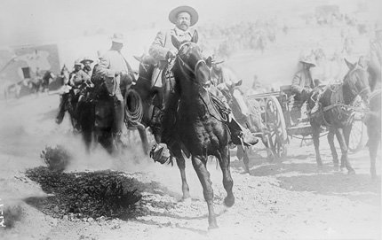 "General Francisco ""Pancho"" Villa on horseback, during the Mexican Revolution, 1914. Villa is part of the PBS series <em>Latino Americans</em> in which USC Dornsife's George Sanchez participated. Courtesy of Library of Congress Prints & Photographs Division."