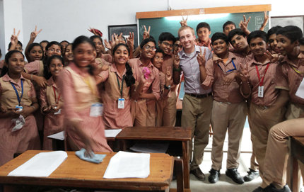 Fulbright fellow Travis Glynn '13 of USC Dornsife is currently working in India as an English teaching assistant. Photo courtesy of Travis Glynn.