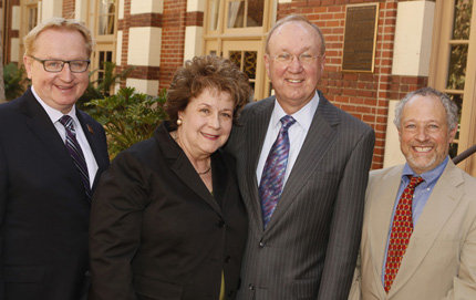 On the University Park campus, from left, USC Dornsife Dean Steve Kay, Linda and Harlan Martens, and the Linda and Harlan Martens Endowed Director's Chair for the USC-Huntington Early Modern Studies Institute, Peter Mancall. The endowed chairship was made possible through a $1 million donation by the Martens. Photo by Steve Cohn.