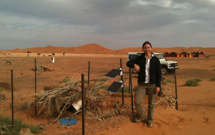 USC Dornsife's Meghan Miller at the southernmost seismic station deployment in Morocco. Photo courtesy of Meghan Miller.