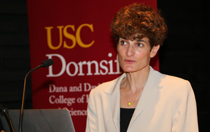 USC Dornsife's Daphna Oyserman, Dean's Professor of Psychology, shares her research during a Jan. 22 Dean's Special Lecture, explaining why we often achieve less than we aspire to and offering solutions to help attain our goals. Photos by Matt Meindl.
