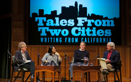 USC Dornsife's David Ulin of the Master of Professional Writing program (far right) moderates a discussion about how the literary perception of Los Angeles architecture helped shape the city's identity. Ulin is book editor of the <em>Los Angeles Times</em>. From left: Jon Christensen, Alice Kimm and Christopher Hawthorne. Photo by  Gary Leonard.