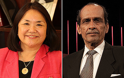 Political science alumni Melody Nishida and Roland Ulloa followed different career paths, but neither forgot their alma mater. Both were recently honored at gala award ceremonies. Photos courtesy of the USC Alumni Association.