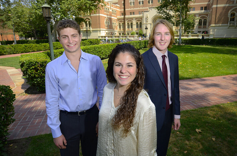 From left, salutatorian Jared Sokol, valedictorian Jana Shapiro and salutatorian Brian Lentz are all from USC Dornsife this year. Photos by Gus Ruelas.
