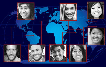 The Fulbright Scholarship was established to increase the mutual understanding among the United States and other countries. USC Dornsife students and alumni who are 2014-15 Fulbright Scholars will study and teach throughout the world. Clockwise from top left, Fan Fan, Rebecca Ryan, Bijou Diem Tran Nguyen, Vivian Yan, Samantha Freitag, Samir Kumar, John Hernandez and Brendan McMahon.