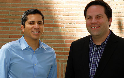 USC Dornsife's doctoral candidate Matthew Mendez (left) and Christian Grose, associate professor of political science, said they were shocked to find a nearly 20 percentage point gap among legislators who support voter ID laws based on the name of the ethnicity of the constituent. Photo by Susan Bell.